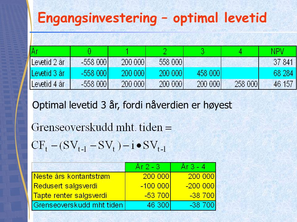Engangsinvestering – optimal levetid