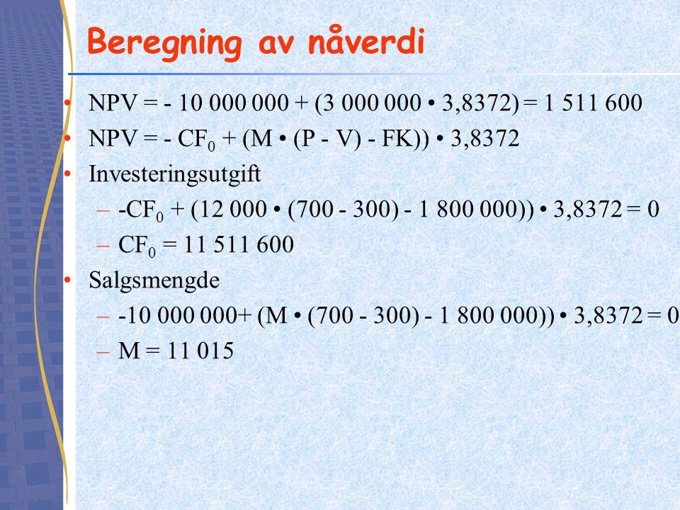 Beregning av nåverdi NPV = - 10 000 000 + (3 000 000 • 3,8372) = 1 511 600. NPV = - CF0 + (M • (P - V) - FK)) • 3,8372.