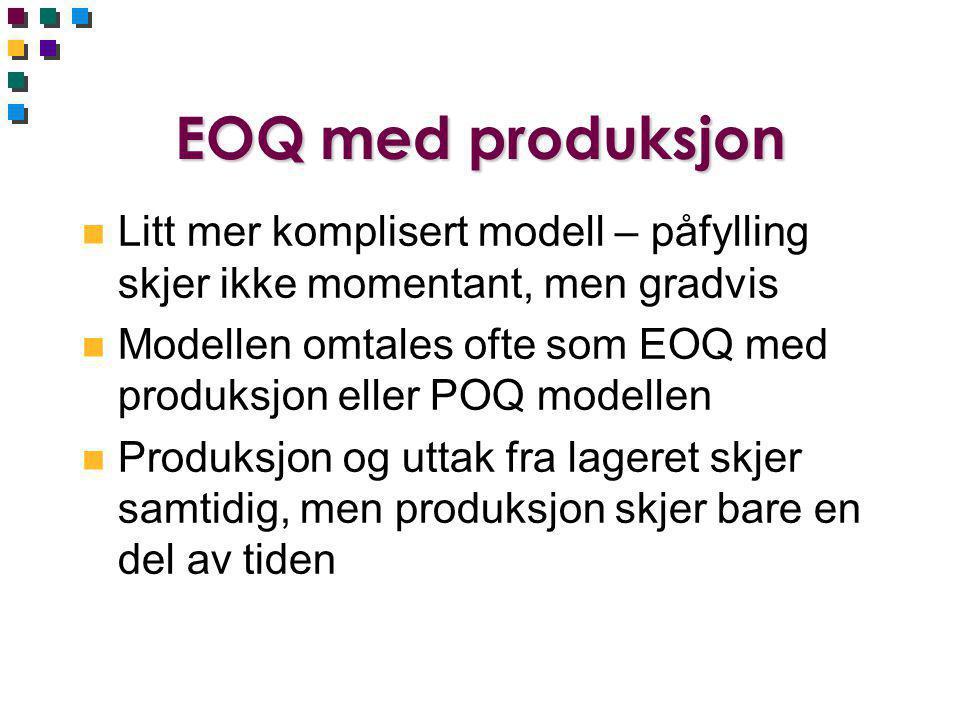 EOQ med produksjon Litt mer komplisert modell – påfylling skjer ikke momentant, men gradvis.