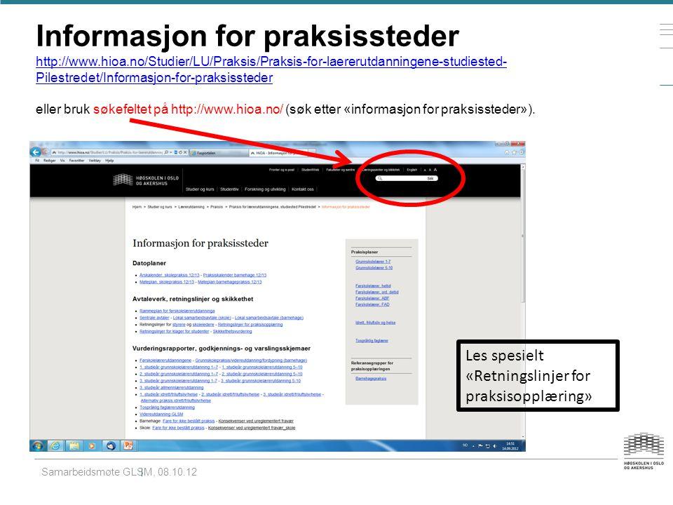 Informasjon for praksissteder http://www. hioa