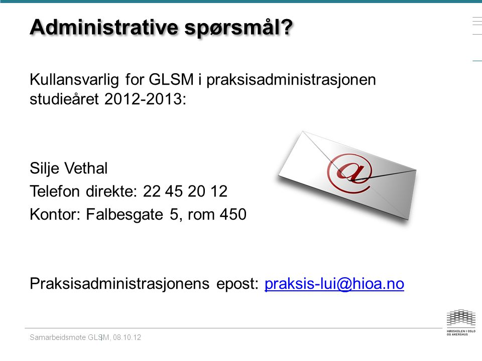 Administrative spørsmål