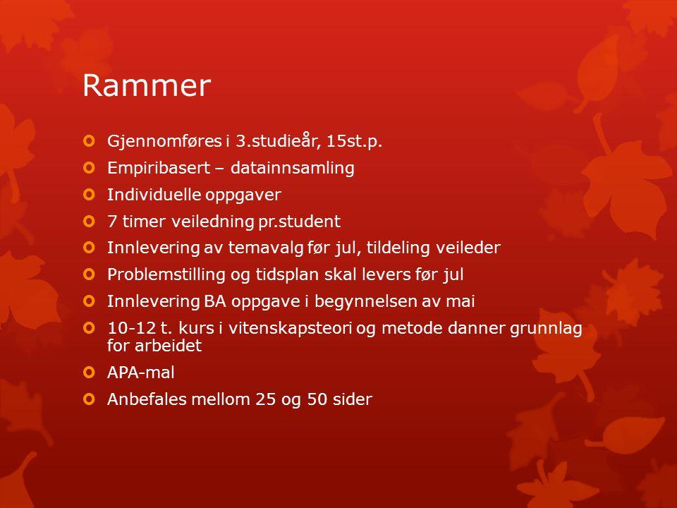 Rammer Gjennomføres i 3.studieår, 15st.p.