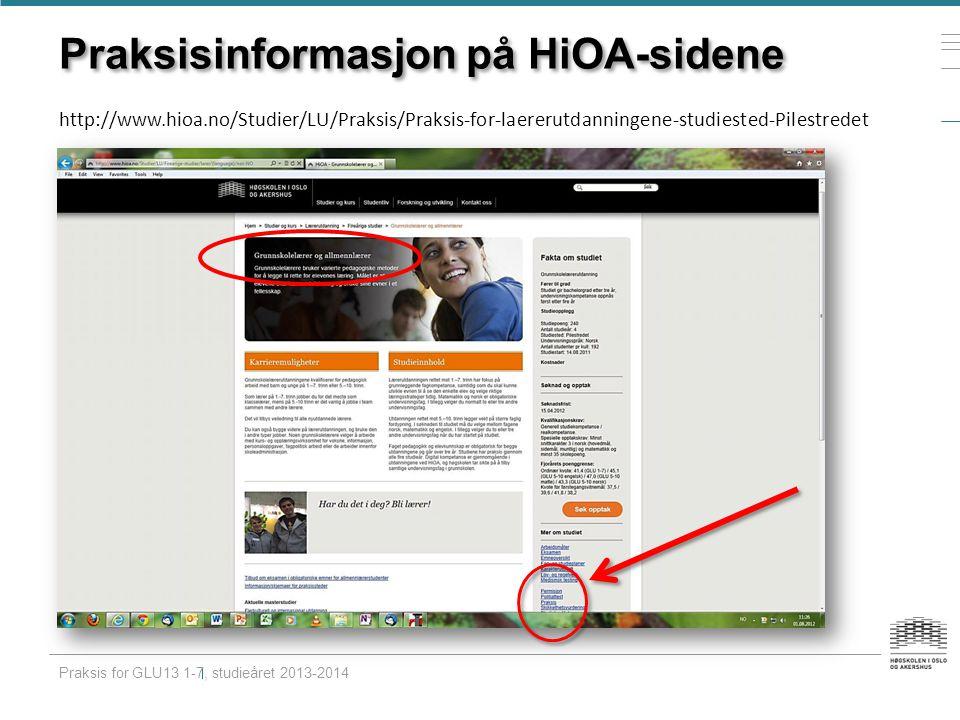 Praksisinformasjon på HiOA-sidene