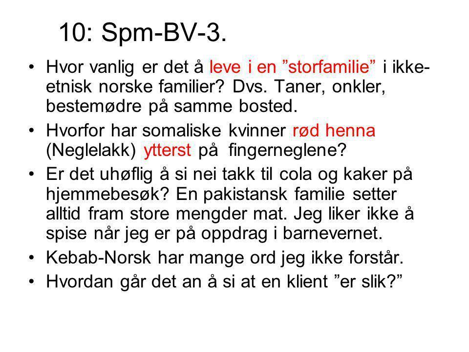 10: Spm-BV-3. Hvor vanlig er det å leve i en storfamilie i ikke-etnisk norske familier Dvs. Taner, onkler, bestemødre på samme bosted.