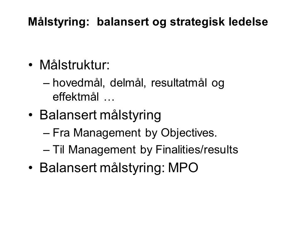 Målstyring: balansert og strategisk ledelse