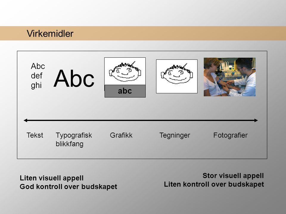 Abc Abc def ghi abc Virkemidler Tekst Typografisk blikkfang Grafikk