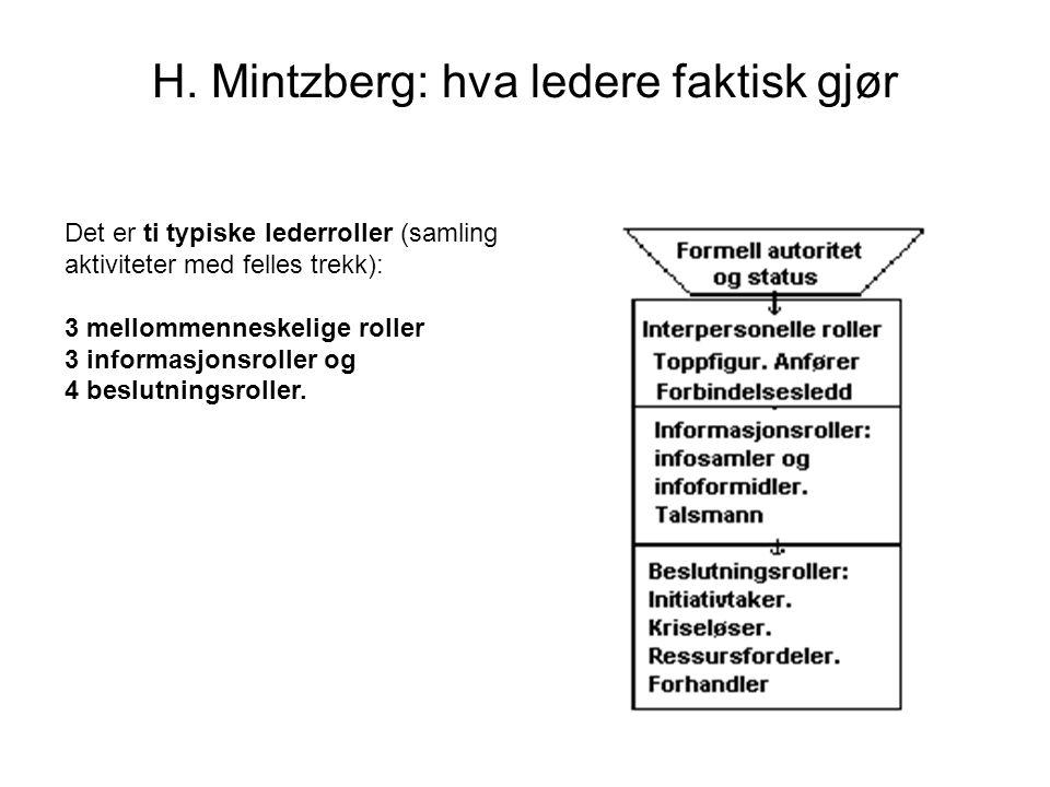 H. Mintzberg: hva ledere faktisk gjør