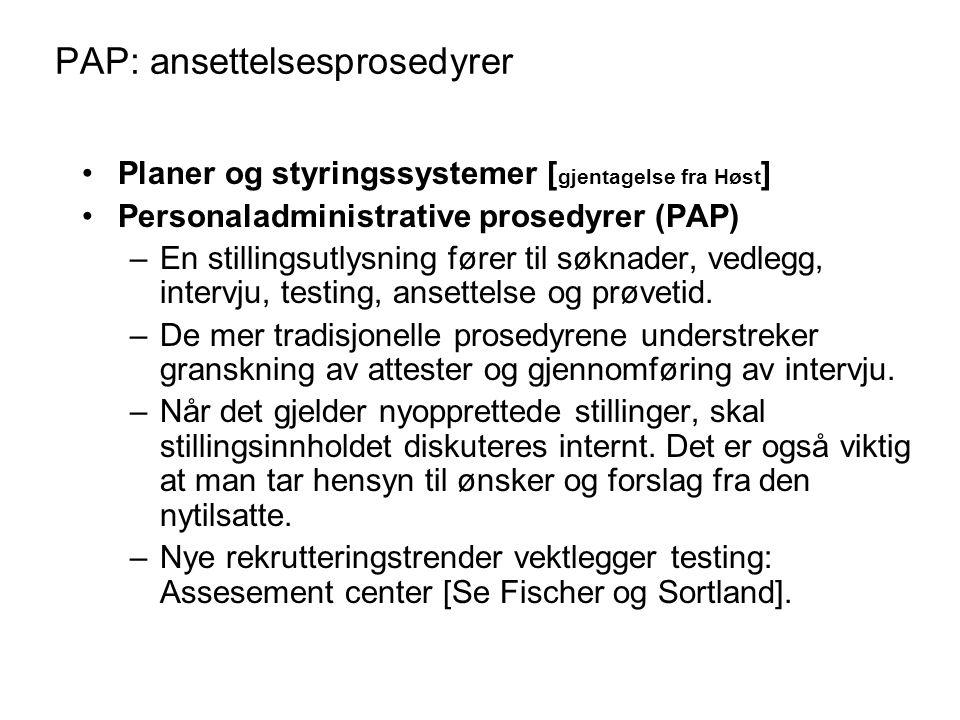 PAP: ansettelsesprosedyrer