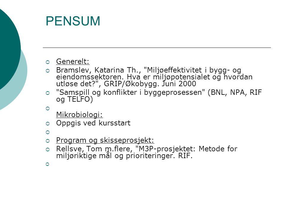PENSUM Generelt: