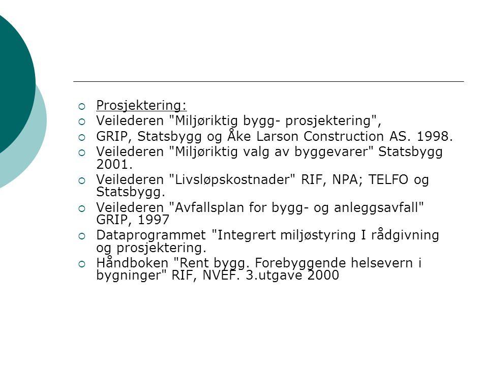 Prosjektering: Veilederen Miljøriktig bygg- prosjektering , GRIP, Statsbygg og Åke Larson Construction AS. 1998.