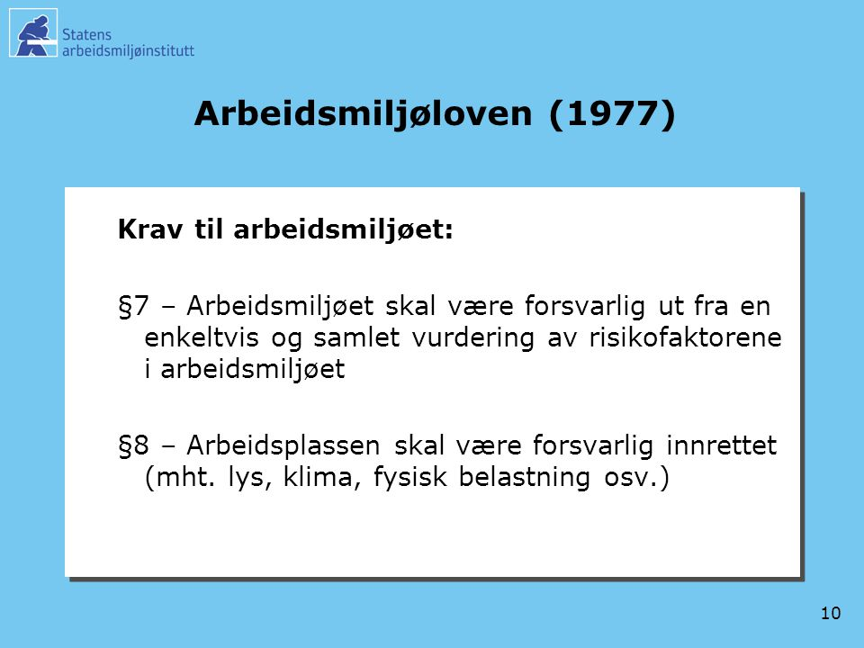 Arbeidsmiljøloven (1977) Krav til arbeidsmiljøet: