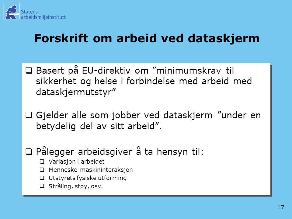 Forskrift om arbeid ved dataskjerm