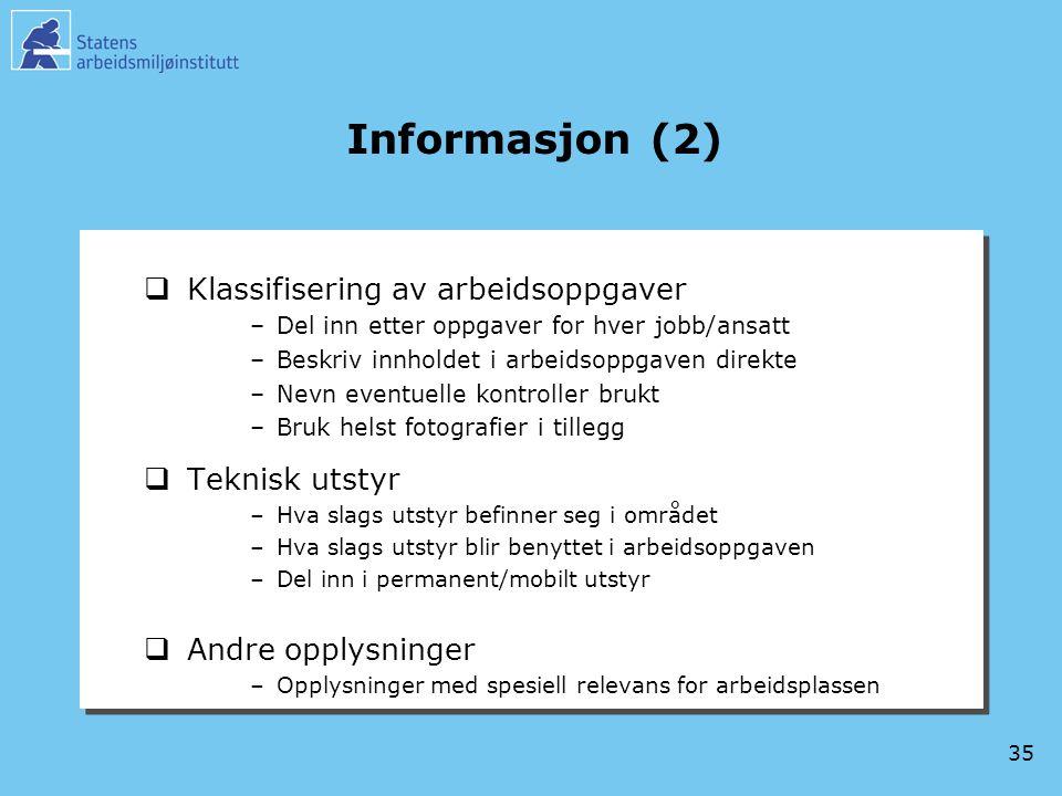 Informasjon (2) Klassifisering av arbeidsoppgaver Teknisk utstyr