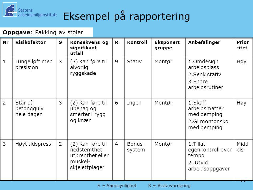 Eksempel på rapportering