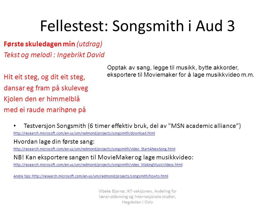 Fellestest: Songsmith i Aud 3