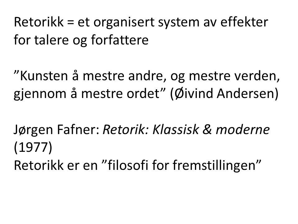 Retorikk = et organisert system av effekter for talere og forfattere