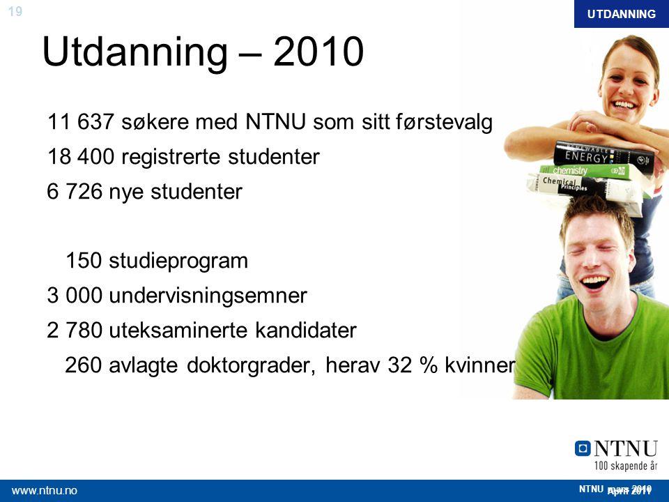 Utdanning – 2010 11 637 søkere med NTNU som sitt førstevalg
