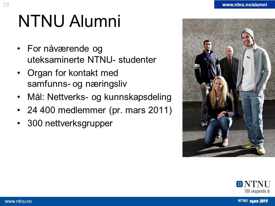 NTNU Alumni For nåværende og uteksaminerte NTNU- studenter