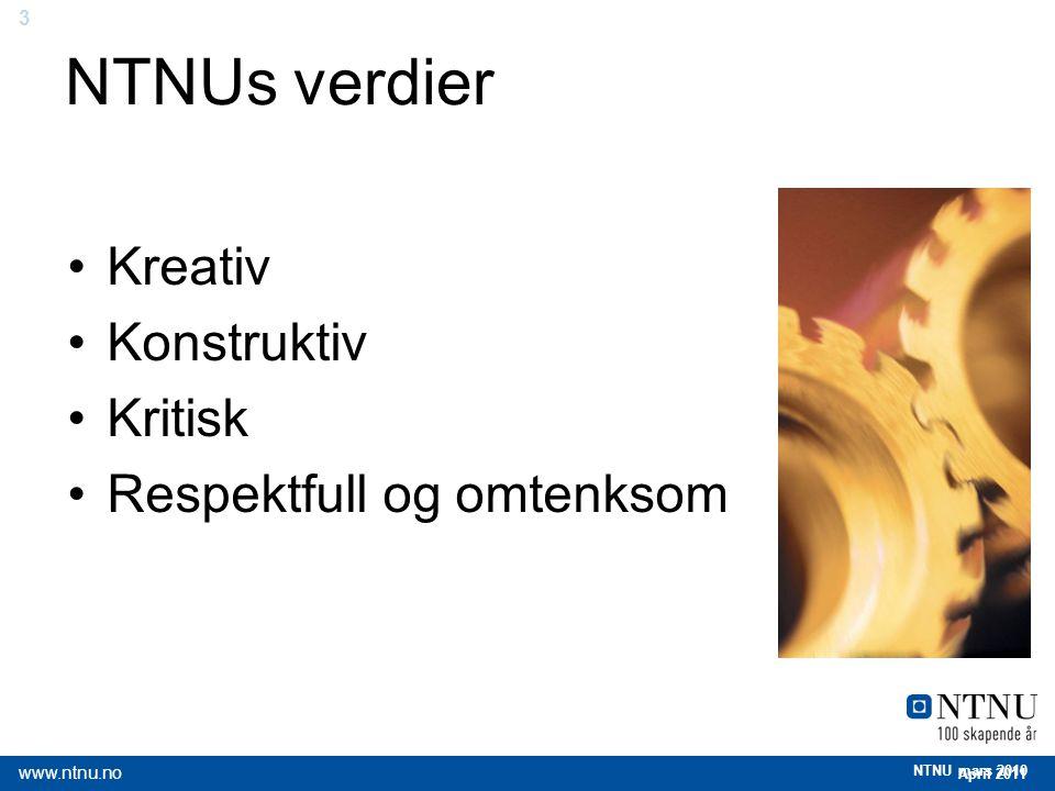 NTNUs verdier Kreativ Konstruktiv Kritisk Respektfull og omtenksom