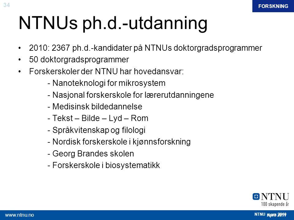 FORSKNING NTNUs ph.d.-utdanning. 2010: 2367 ph.d.-kandidater på NTNUs doktorgradsprogrammer. 50 doktorgradsprogrammer.