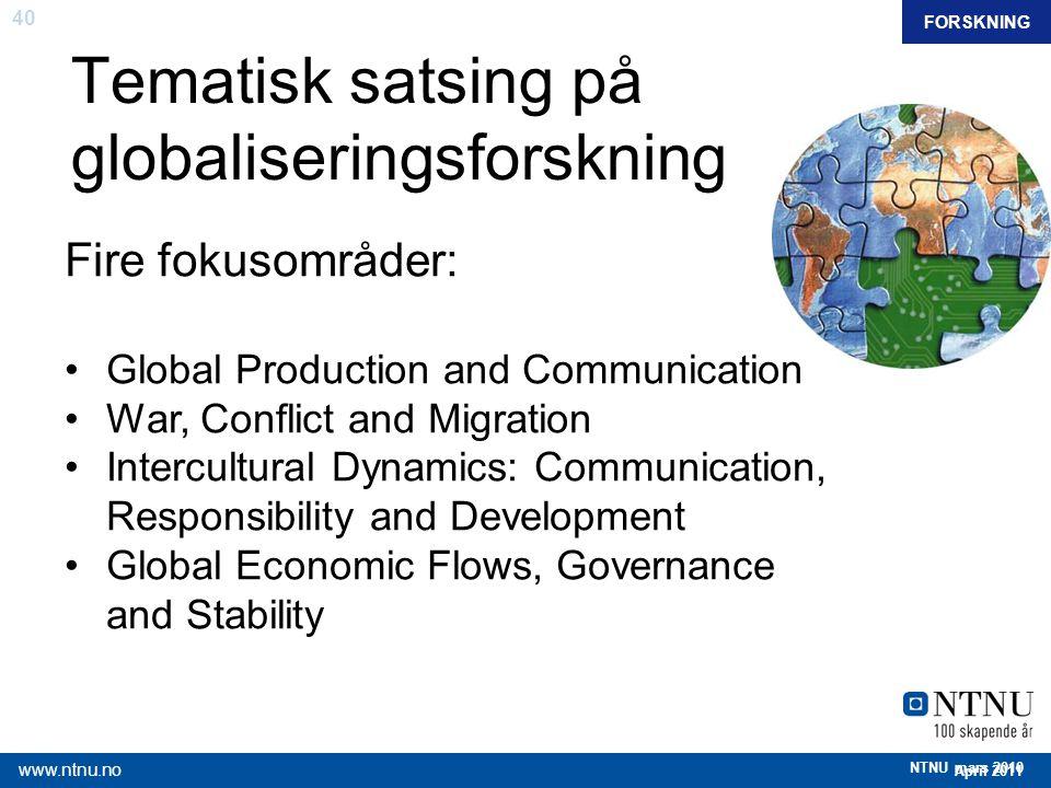 Tematisk satsing på globaliseringsforskning