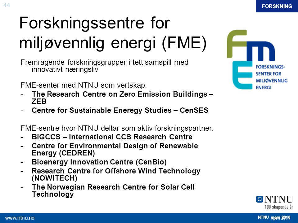 Forskningssentre for miljøvennlig energi (FME)