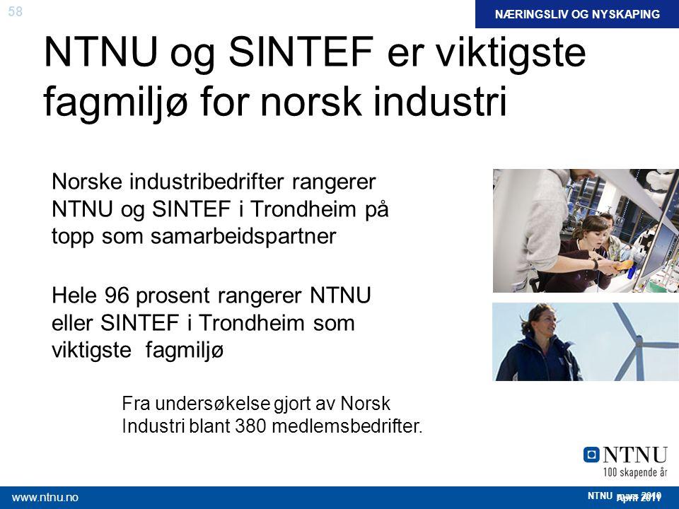 NTNU og SINTEF er viktigste fagmiljø for norsk industri