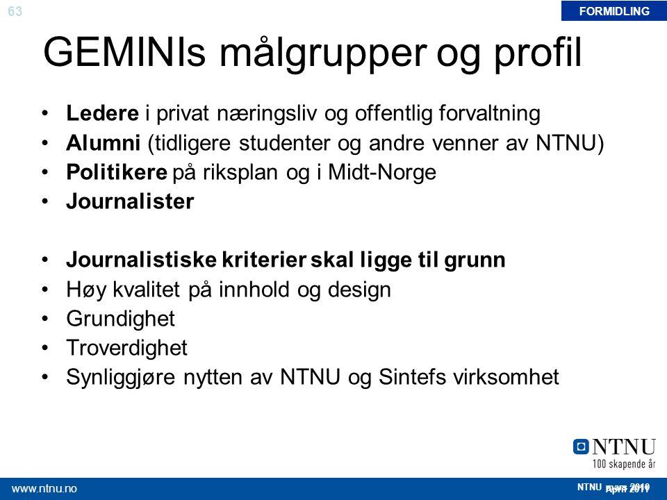 GEMINIs målgrupper og profil