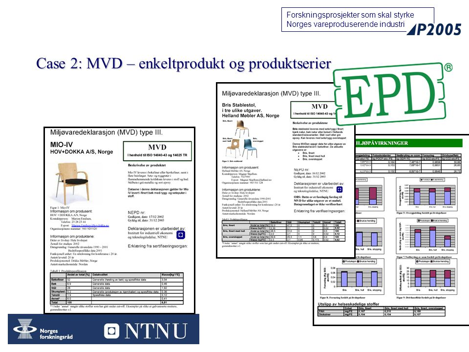 Case 2: MVD – enkeltprodukt og produktserier