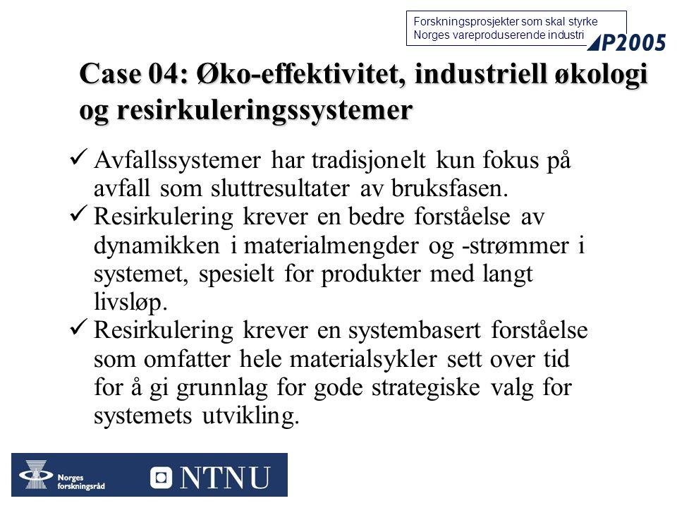 Case 04: Øko-effektivitet, industriell økologi og resirkuleringssystemer