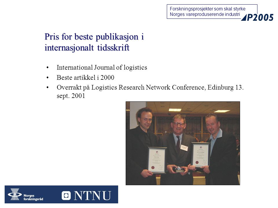 Pris for beste publikasjon i internasjonalt tidsskrift
