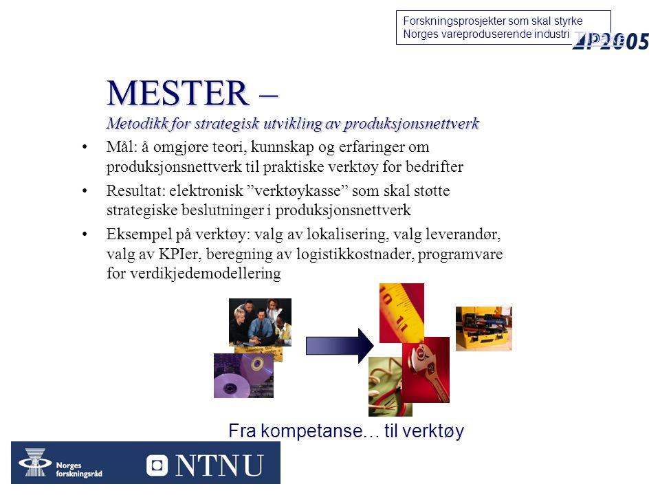 MESTER – Metodikk for strategisk utvikling av produksjonsnettverk