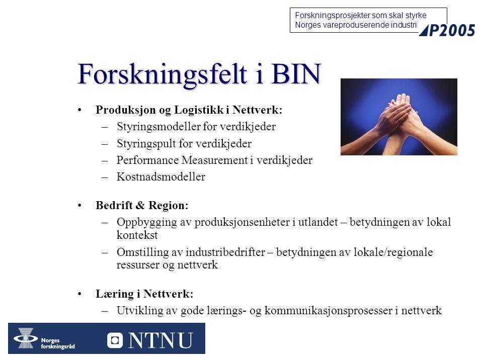 Forskningsfelt i BIN Produksjon og Logistikk i Nettverk: