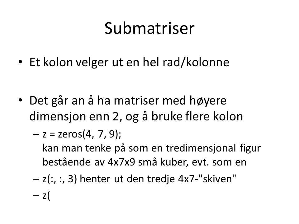 Submatriser Et kolon velger ut en hel rad/kolonne