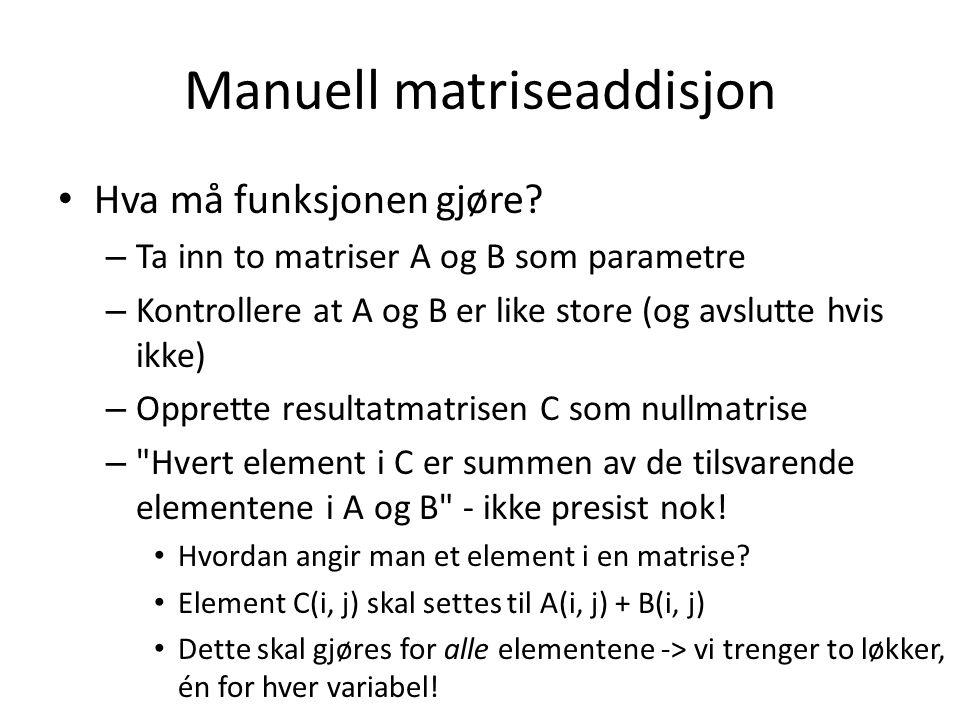 Manuell matriseaddisjon