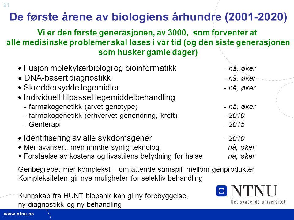 De første årene av biologiens århundre (2001-2020)