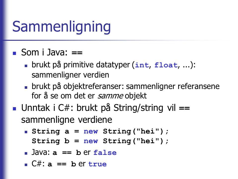 Sammenligning Som i Java: ==