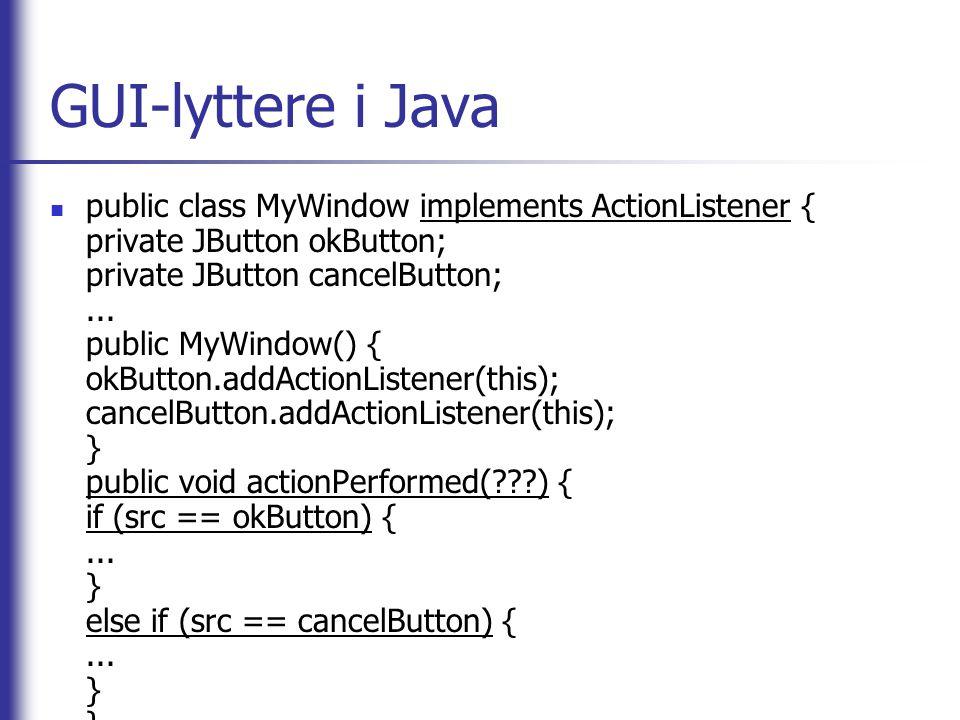 GUI-lyttere i Java