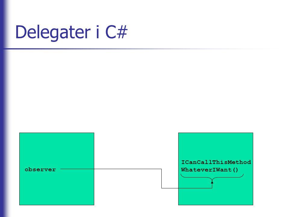 Delegater i C# ICanCallThisMethodWhateverIWant() observer