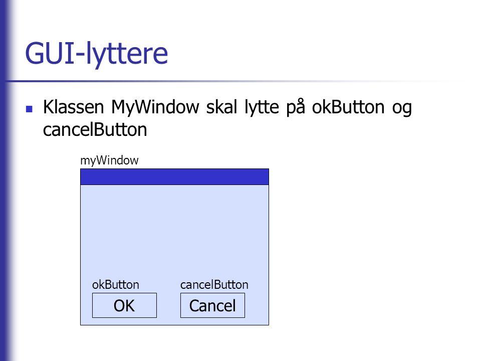 GUI-lyttere Klassen MyWindow skal lytte på okButton og cancelButton OK