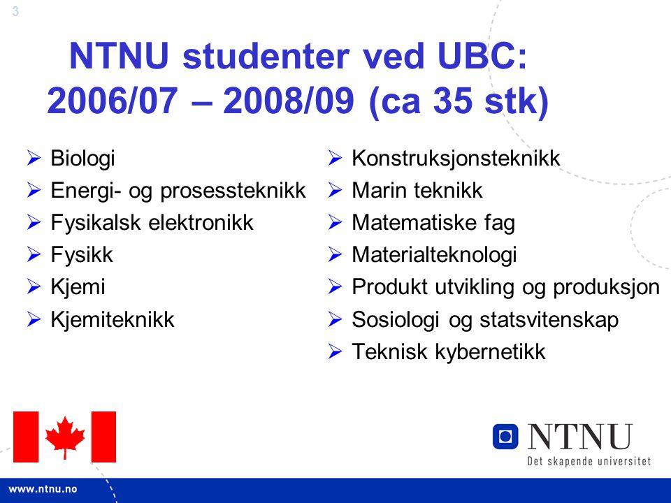 NTNU studenter ved UBC: 2006/07 – 2008/09 (ca 35 stk)