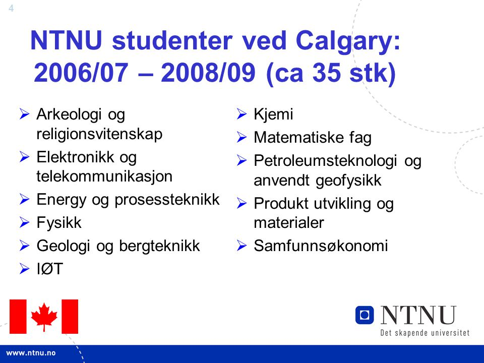 NTNU studenter ved Calgary: 2006/07 – 2008/09 (ca 35 stk)