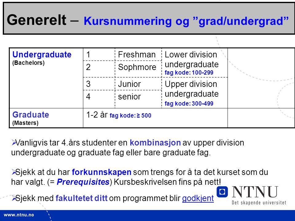 Generelt – Kursnummering og grad/undergrad