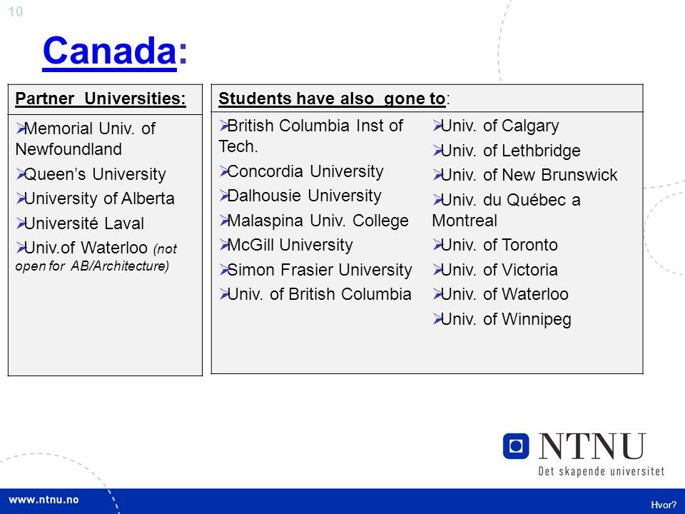Canada: Partner Universities: Memorial Univ. of Newfoundland