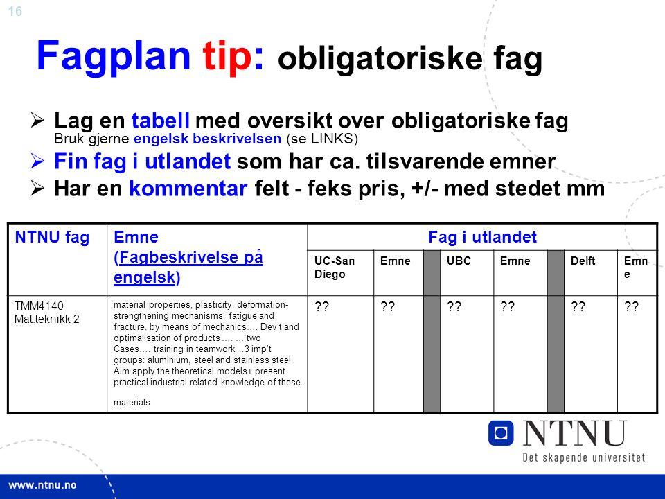 Fagplan tip: obligatoriske fag