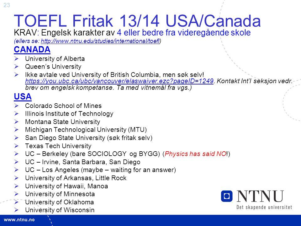 TOEFL Fritak 13/14 USA/Canada