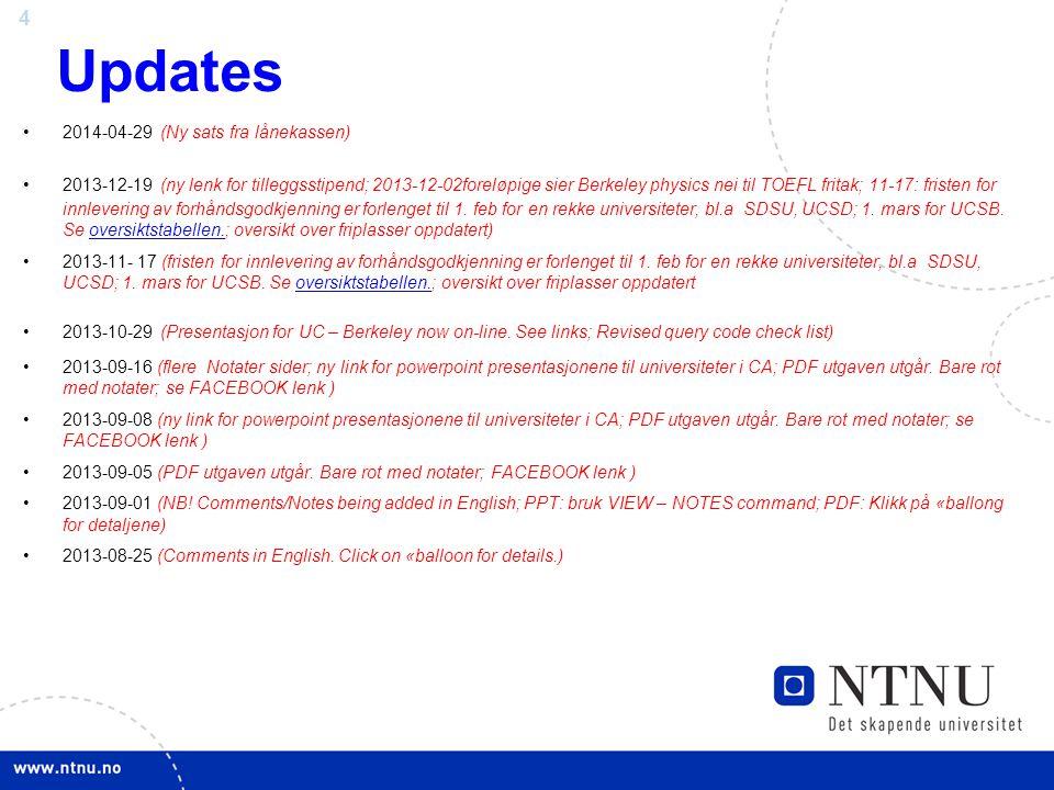 Updates 2014-04-29 (Ny sats fra lånekassen)