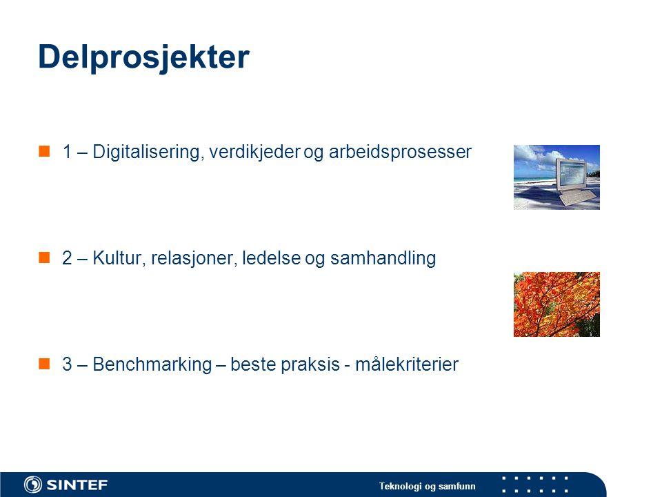 Delprosjekter 1 – Digitalisering, verdikjeder og arbeidsprosesser