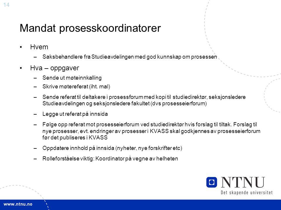 Mandat prosesskoordinatorer