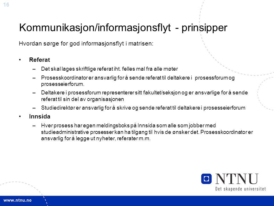 Kommunikasjon/informasjonsflyt - prinsipper